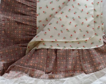 King Size Vintage Pillowcase Country Cream Flowers Ruffled Hem in Brown Linens Free Shipping Bedding Bed