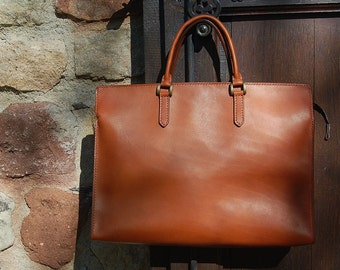 Cognac Briefcase (small) - Handstitched leather briefcase