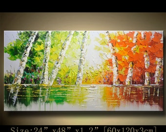 contemporary wall art, Palette Knife Painting,colorful tree painting,wall decor , Home Decor,Acrylic Textured Painting ON Canvas by Chen h84