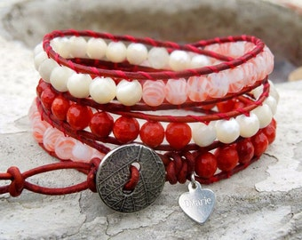 True Love - Wrap Bracelet, Red Bamboo Coral, banded Coral, Mother of Pearl on Greek Natural Red leather