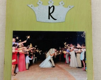 Handmade Picture Frame - Aged Granny Smith Green with Personalized Crown