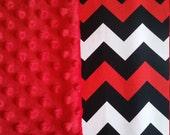 Baby Blanket Cotton Red Black Chevron Minky backing 19 colors Carseat Blanket Crib Blanket Minky Blanket