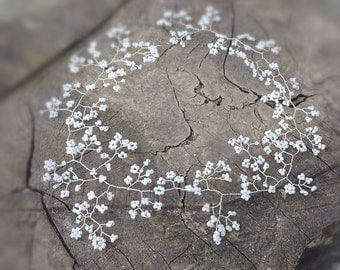 "Wedding Hair vine, Tiara, headband, crown, bridal, Boho , Pagan, Celtic, prom, in babys breath 10"" / 15"" (25cm or 38cm) pearly white."