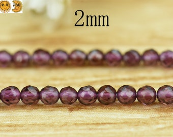 15 inch strand of Purple Garnet faceted round beads 2mm