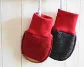 recycled wool BABY MITTENS, fleece lined, RED/grey wool tops, red cotton cuffs, felted and warm, thumbless mitts!