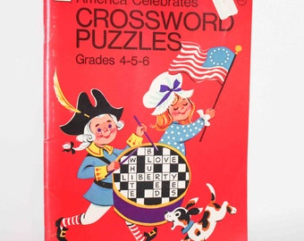 1975 Whitman American Celebrates Crossword Puzzles Coloring Activity Book Grades 4 and up