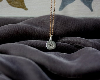 Silver Disk Charm on a Thin Gold Chain - Hammered Circle Pendant Necklace- Silver Lily Handmade Jewelry - Mixed Metals
