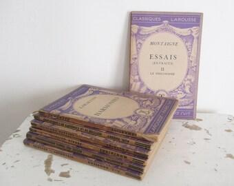 7 little vintage french books, Classiques Larousse, 1930, Livres anciens, France, Paris, Old paper Ephemera