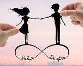 Infinite Love - Custom Anniversary Gift, Personalized Art, Wedding Shower Gift, Paper Anniversary, Couple Wedding Gift, Husband Gift, Wife