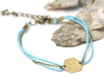 Brass honeycomb bracelet - geometric bracelet - blue cord bracelet with brass pendant