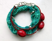 Natural Red Green Teal Lace Strap Brown Red Wooden Beads Wrap Bracelet - Inspired by The Shannara Chronicles