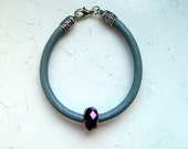 Grey Leather Cording Purple Crystal Bead Bracelet - Inspired by Shadowhunters