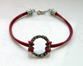 Dark Red Leather Cording Silver Circle Bracelet - Inspired by The Shannara Chronicles