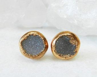 20% OFF SALE druzy earrings, druzy studs, druzy stud earrings, rose gold, crystal earrings, rose gold earrings, rose gold studs