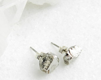 Silver nugget stud earrings, Silver earrings, Organic jewelry