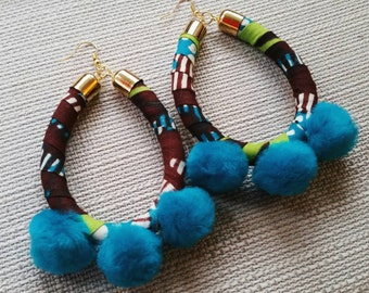 Brown, Lime, and Teal Tribal Pom Pom Earrings
