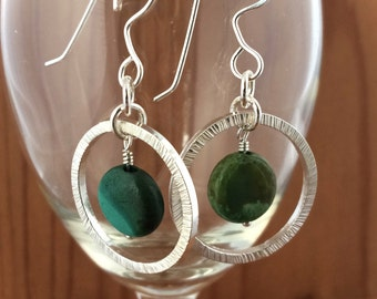 Sterling Silver Hoop Earrings with Abstract Turquoise Bead with Hand Stamped Texture All Handmade