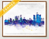 Detroit Cityscape Poster FRAMED  Skyline Watercolor - Art Print Poster Framed - Rustic Decor - Ready to Hang - Anniversary Gift