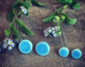 Little Blue Ceramic Unisex Modern Earrings Small Bluebonnet Stud Mini Pottery Surgical Steel Post