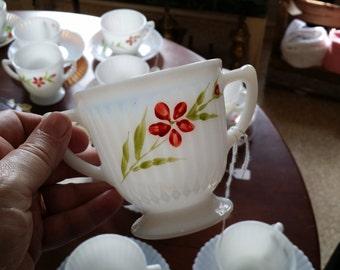 Vintage MacBeth-Evans Monax Milk Glass Open Sugar Bowl with Hand Painted Flowers - Florette pattern