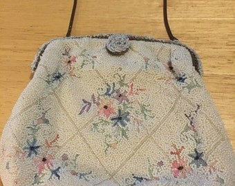 White Beaded & Petit Point Evening Bag by Ed B. Robinson