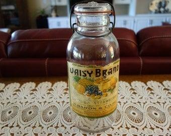 Vintage Mason Jar, Labeled, Juice Jar, Antique, Canister, Farmhouse Decor, Dry Food, Glass, Home Decor, Rustic, Primitives, Kitchen Decor