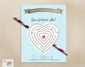 INSTANT DOWNLOAD - Printable Valentine Pencil Maze Stripes Cards