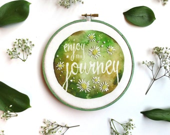 Enjoy the Journey Cottage Decor, Country Farmhouse Hand Stitched Daisies, Prairie Style Flowers, Woodsy Decor, Joy Inspirational Quote Art