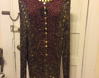 1990s Deadstock Gold Mesh Tunic cover up