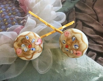 Bridal Hair Pins Jewelry Decorative 1940's Murano Wedding Cake Pink Rose Hairpins Bobby Pins
