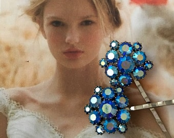 Decorative Hair Pins Bridal Jewelry Vintage 1950's Blue Weiss AB Aurora Borealis Rhinestone Bobby Hairpins