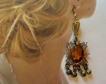 Czech Filigree Earrings Art Deco Bohemian Renaissance Citrine Dangle