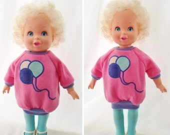 """ON SALE Vintage 1987 Baby Grows Up Doll, Original Clothes, 2 Dolls In One, Make Her Grow From A Baby To A Toddler, Toy, 14""""-16"""" Tall, Hard P"""
