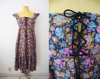 Vintage 70s Lace Up Floral Flower Prairie Dress Ruffle Peasant Boho Mini