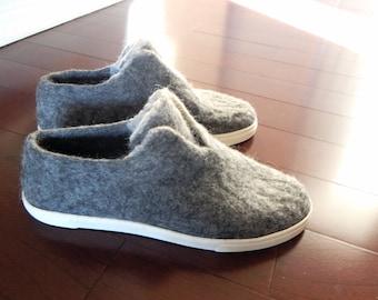 Vintage Grey Wool Felted Sneakers, Felted Wool Sneakers, Soles #DMS351. Slow design. momoish made.