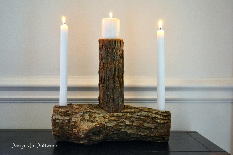 Wedding Candles: Rustic Wood Wedding Unity Candle Set Woodland Wedding