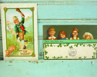 Two Antique St. Patrick's Day Postcards Irish Children Shamrock Cards Printed in Germany