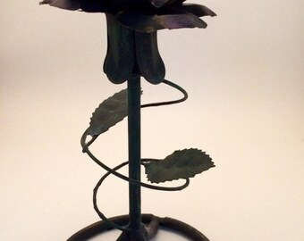 Rustic metal rose candle holder