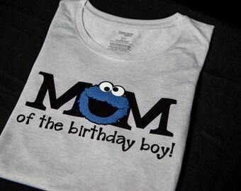 Cookie Monster Birthday Shirt  Sesame Street Birthday Shirt for Mom Cookie Monster Birthday Boy Cookie Monster Birthday Girl Mom Shirt