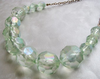 Statement Necklace - Light Green Beaded Necklace - Vintage Lucite Necklace