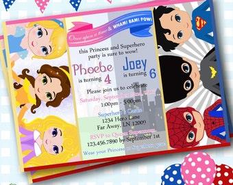 Princess and Superhero Invitations, Superhero Birthday Invitations, Superhero Invites, Princess Party Invitations. Birthday Invites - SP2