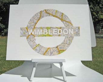 Vintage Map Art // LONDON UNDERGROUND // hand paper cut from a vintage map of Greater London // WIMBLEDON Tube station