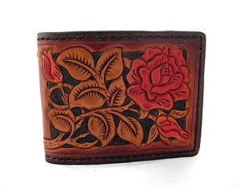 Handmade Leather Red Rose Wallet