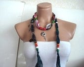 dark Green Cotton scarf, Wooden Beaded necklace scarf Turkish cotton Scarf, Cotton Necklace, Belt, Headband Gift for women mom wife grandma