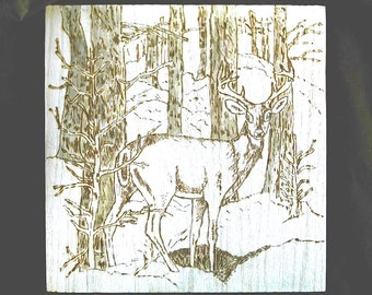 Deer in Forest-Art Pyrography- Handcrafted-Wood Burnt Wall Plaque Signed