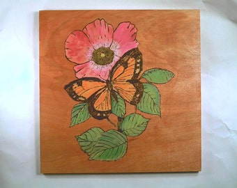 Butterflies handmade pyrography,wood burning, wall plaque
