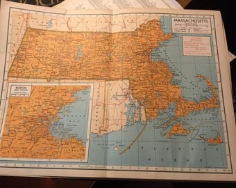 Massachusetts Map from 1940's Encyclopedia