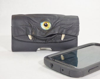 Black Leather Cell Phone Case With Face Monster Harry Potter