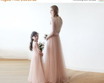 Pink backless maxi tulle gown, Sleeveless Low back bridesmaids tulle dress