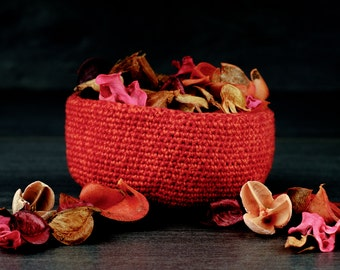 "Hand Crocheted ""Warp Bowl"". Red and Orange Cotton."